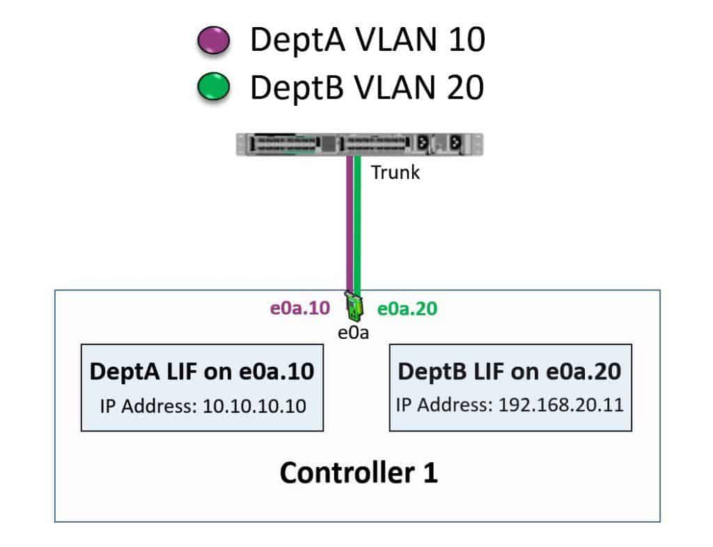 NetApp LIFs homed on VLANs example - Physical View