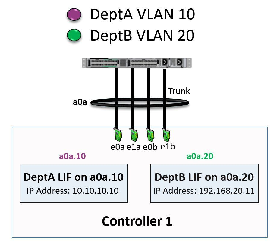 NetApp LIFs homed on Combined VLANs and Interface Groups example