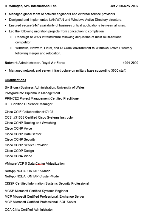 How to Write a Systems / Network Engineer Resume (with examples ...