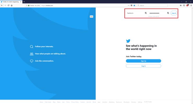 Log into Twitter