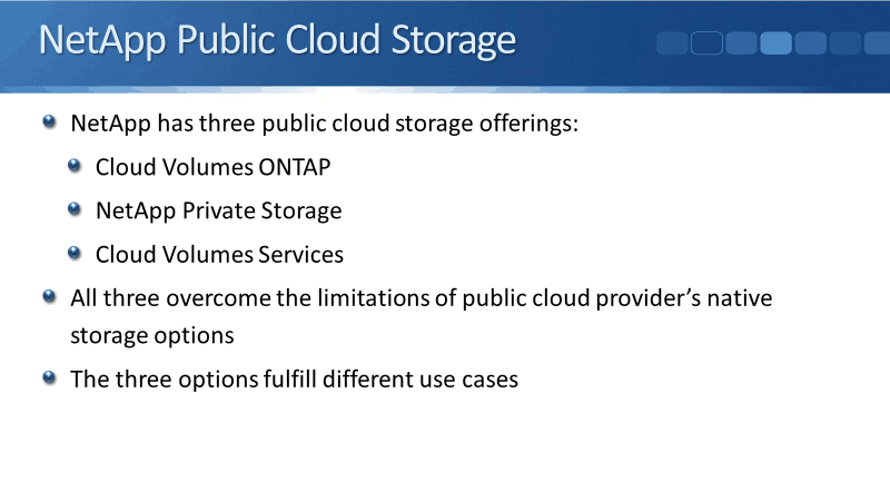 NetApp Cloud Storage Solutions Overview Tutorial