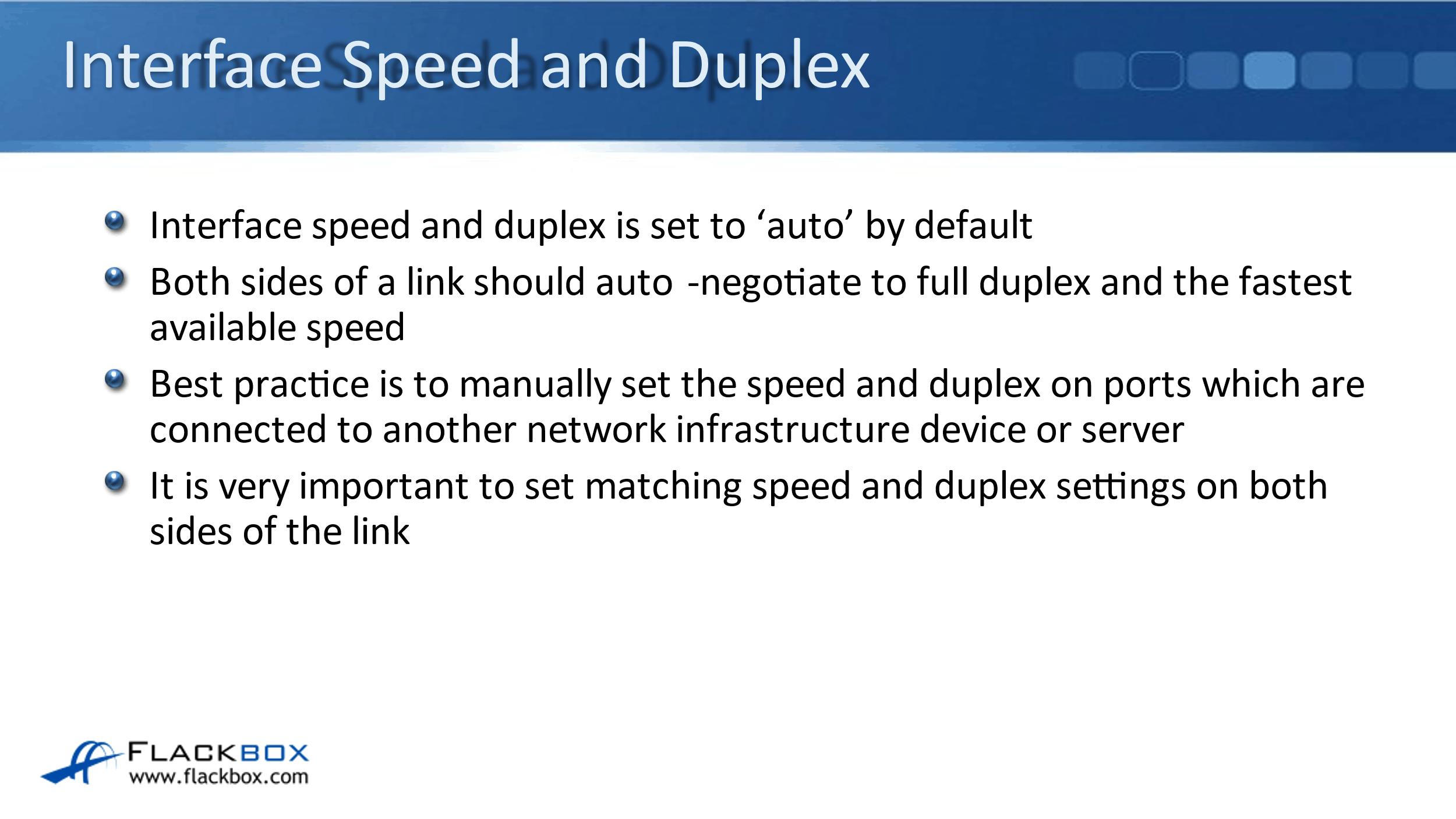Cisco Speed and Duplex Settings
